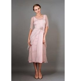 Nataya 2pc Rose Dress w/ Hankerchief Sleeve Rose