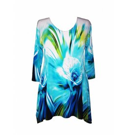 Valentina Signa 3/4 Sleeve Lycra Tunic Turquois Rose