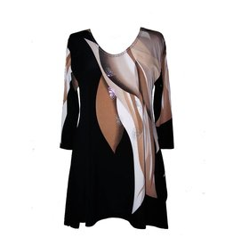 Valentina Signa 3/4 Sleeve Lycra Tunic Taupe/Black Abstract