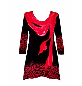 Valentina Signa 3/4 Sleeve Lycra Tunic Red Scarves