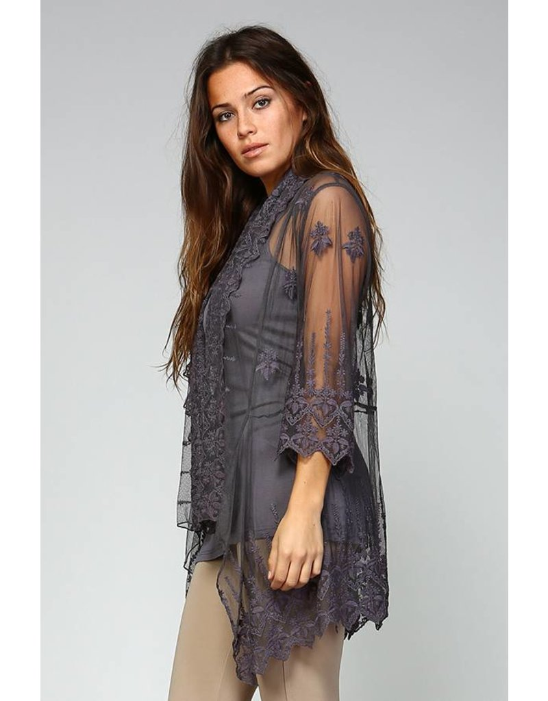 Apparel Love 3/4 Sleeve Lace Cardigan w/Cami