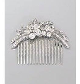 Golden Stella Crystal Studded Floral Hair Comb Silver