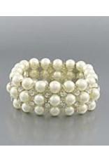 Golden Stella Pearl Crystal Stretch Bracelet