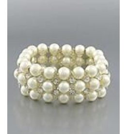 Golden Stella Pearl Crystal Stretch Bracelet