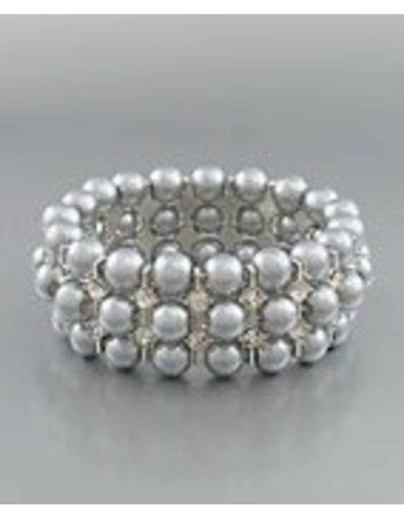 Golden Stella Gray Pearl Crystal Stretch Bracelet