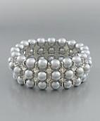 Golden Stella Gray Pearl Crystal Stretch Bracelet