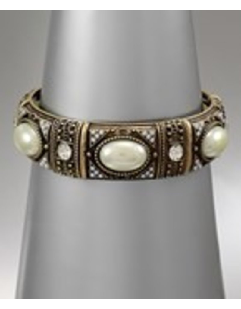 Golden Stella Cream Pearl & Russian Gold Stretch Bracelet
