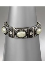 Golden Stella Cream Pearl & Burnt Silver Stretch Bracelet