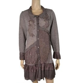 Pretty Angel Button Front Lace Embellish Tunic/Sweater Coffee