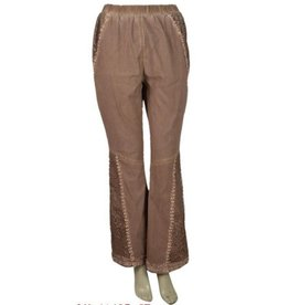 Pretty Angel Lace Embellished Stonewash Pants Coffee