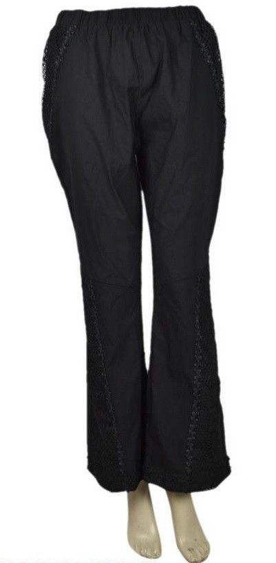 Pretty Angel Lace Embellished Stonewash Pants Black