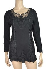 Pretty Angel Lace Embell Laced Up Bodice Stonewash Top Black