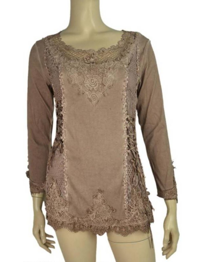Pretty Angel Lace Embell Laced Up Bodice Stonewash Top Coffee