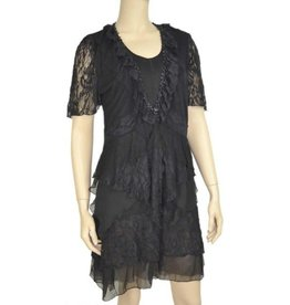 Pretty Angel Knit Bolero Lace Ruffled Trim Black