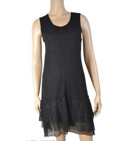 Pretty Angel Knit Lace Bottom Tank Dress Black