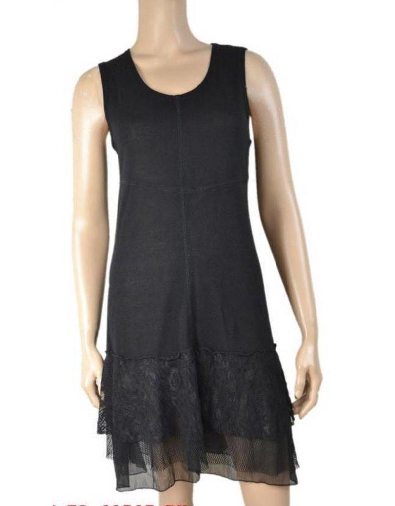 Pretty Angel Knit Lace Bottom Tank Dress Black