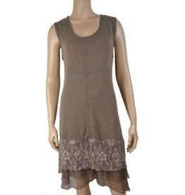 Pretty Angel Knit Lace Bottom Tank Dress Ecru