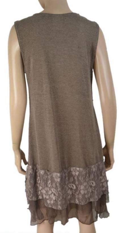 Pretty Angel Knit Lace Bottom Tank Dress Ecru