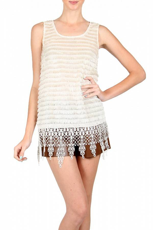 RYU Slvlss Top w/Lacey Fringe Furry Front Cream