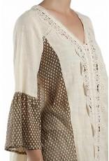 RYU 2 Tone Bell Slv Hi-Lo Tunic Crochet Front Cream/Taupe