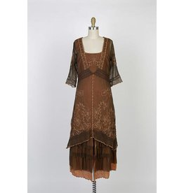 Nataya Vintage Inspired Dress Terracotta