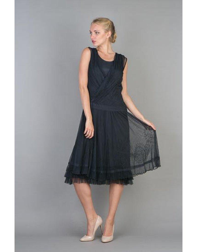 Nataya Lace Crisscross Front Dress Navy