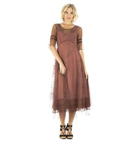 Nataya Sheer Mid Sleeve Full Length Embroidered Overlay Dress Sienna