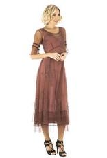 Nataya Sheer Mid Sleeve Full Length Embroidered Overlay Dress Sienna