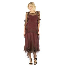 Nataya Lace up Side Rosette Detail Victorian Dress Chocolate/Raspberry