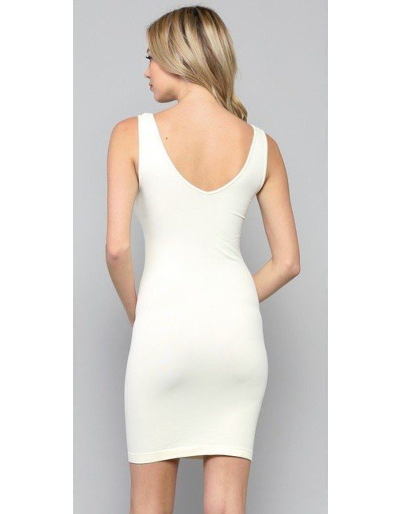 By Together Seamless Reversible U-V Neck Tunic Ivory