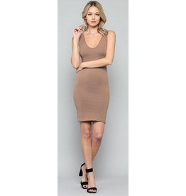 By Together Seamless Reversible U-V Neck Tunic Mocha