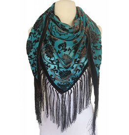 J & X Triangle Velvet Scarf w Fringes Jade/Black
