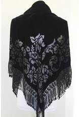 J & X Velvet Triangle Shawl Black