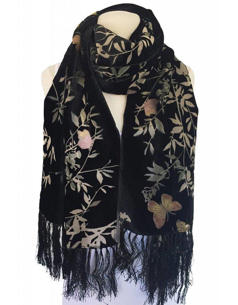 J & X Silk & Velvet Shawl/Scarf-Black/ Floral/ Butterfly