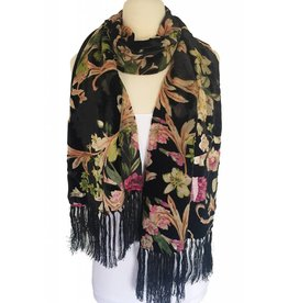 J & X Silk & Velvet Shawl/Scarf-Black/ Floral