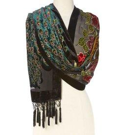 J & X Silk & Velvet Shawl w/ Beads-Black/ Peacock/ Floral
