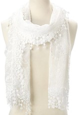 J & X Embroid Lace Scarf White