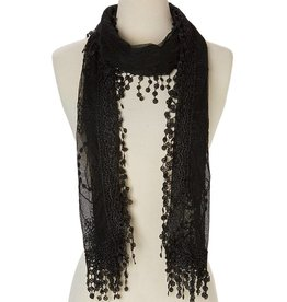 J & X Embroid Lace Scarf Black