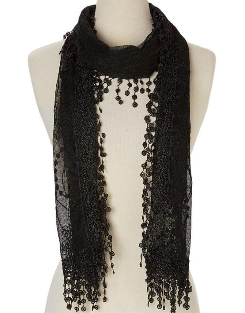 J & X Embroid Lace Scarf Black