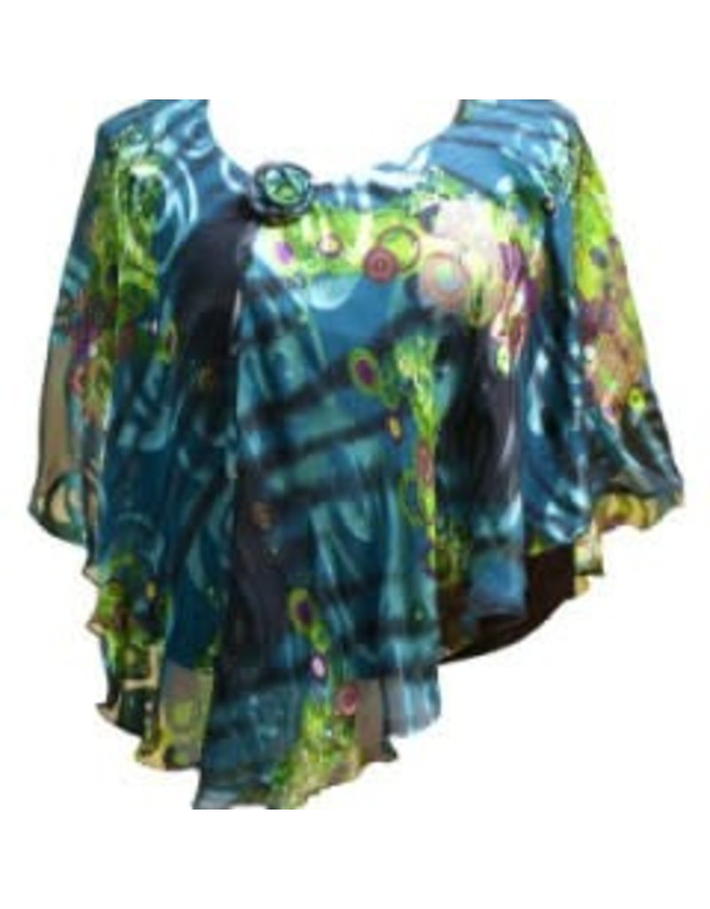 Silky Flowy Top with Built-in Shell Teal Swirl