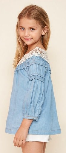 Hayden Los Angeles Crochet Lace Neckline Peasant Top Denim