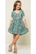 Hayden Los Angeles Fit and Flare Dress Lace Detail Sleeve