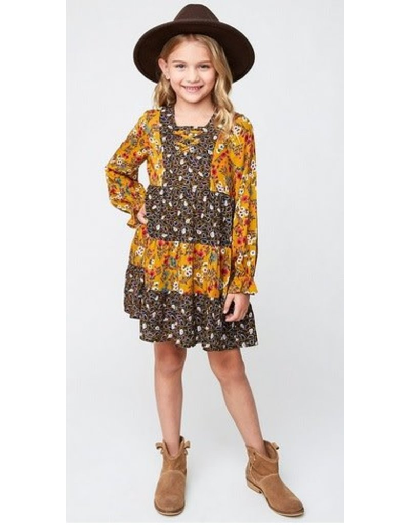 Hayden Los Angeles Long Slv Printed Peasant Boho Dress Mustard