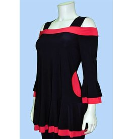 Pretty Woman Two Tone 3/4 Slv Cold Shldr Tunic w/pockets Blk/Red