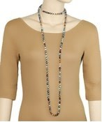 "Golden Stella 60"" Long Knotted Glass Bead Necklace"