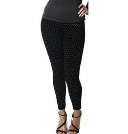 Sacred Threads Polka Dot Fleece Lined Leggings Black
