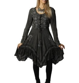 Sacred Threads Long Sleeve Stone wash Embroidered Accent Dress Grey