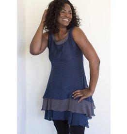 Cotton Tank Dress Tiered Bottom Blue/Grey