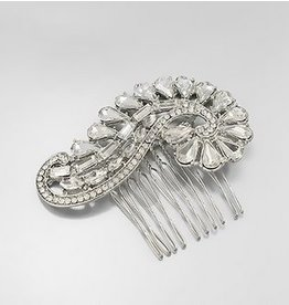 Golden Stella Rhinestone Paisley Shape Hair Comb Silver
