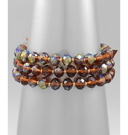 Golden Stella 3 Layer Glass Bead Bracelet Brown AB